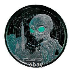 2021 Ghana ALIEN Coin 1 oz Silver BLACK RHODIUM PROOF Scottsdale Mint 999