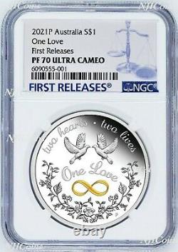 2021 One Love 1oz. 9999 Silver $1 Proof Coin NGC PF70 UC FR with OGP Tuvalu