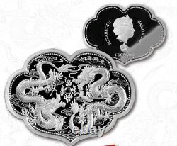 2021 Samoa $5 Wishful Double Dragon 2 oz Silver Proof Coin 2,021 Made