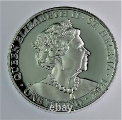 2021 St. Helena 1 oz. 999 Silver £1 Queen's Virtues Truth Proof coin COA & OGP