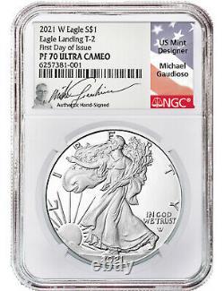 2021 T-2 American Silver Eagle NGC FDI PF70 Ultra Cameo Michael Gaudioso Signed