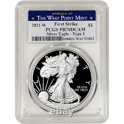 2021 W American Silver Eagle Proof PCGS PR70 DCAM First Strike West Point Label
