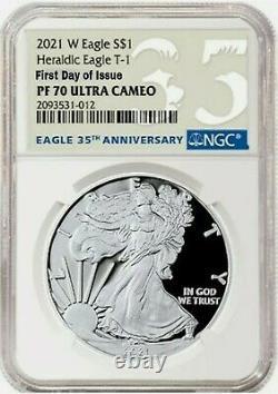 2021 W Ngc Pf70 Fdoi First Day Silver American Eagle S 1 Heraldic Type 1 Pr70