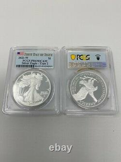 2021-W Proof $1 Type 2 American Silver Eagle PCGS PR69DCAM FDOI Flag L