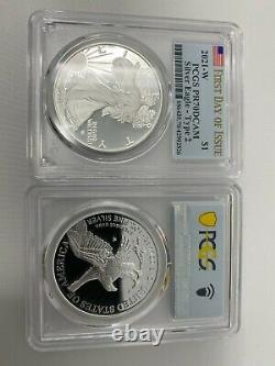 2021-W Proof $1 Type 2 American Silver Eagle PCGS PR70DCAM FDOI Flag L