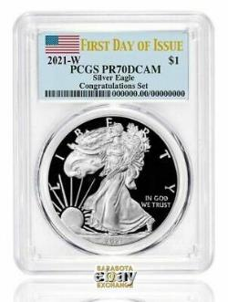 2021 W SILVER EAGLE $1 CONGRATULATIONS PCGS PR70DCAM FIRST DAY OF ISSUE Presale