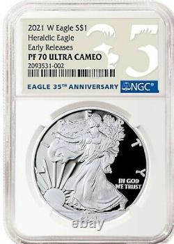 2021 W Silver American Eagle S$1 Heraldic Type 1 Ngc Pf70 Er First Cameo 35