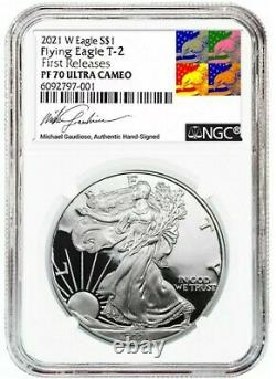 2021-W Silver Eagle PROOF (T-2) PF70 FIRST RELEASES MICHAEL GAUDIOSO SIGNED