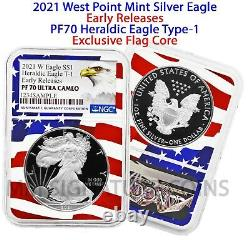 2021 W Silver Eagle Proof Type 1 Heraldic Eagle NGC PF70 Early Release Flagcore