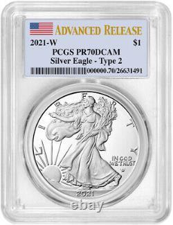 2021-W Type 2 American Silver Eagle Advanced Release PCGS PR70DCAM NR