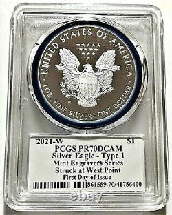 2021-w Mint Engraver Proof Silver Eagle-pcgs Pr70-fdoi-mercanti-type 1-heraldic