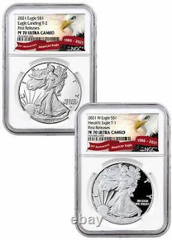 2pc 2021 W American 1 oz Silver Eagle Type 1 & 2 NGC PF70 UC FR Type Set PRESALE