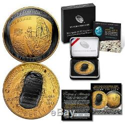 Apollo 11 50th Anniv CURVED 2019 PROOF Silver Dollar BLACK RUTHENIUM / 24K GOLD