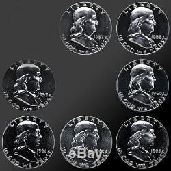 Full Set 1957-1963 90% Silver Proof Franklin Half Dollars! 7 Total Coins