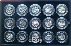 Full set 29 x silver proof 50 pence 2012 London Olympics