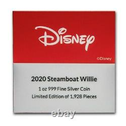 Niue 2020 1 Oz Silver Proof Coin Disney Steamboat Willie