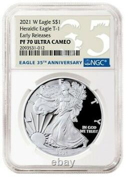 Presale 2021 W $1 American Silver Eagle Type 1 Heraldic Ngc First Release Pf70