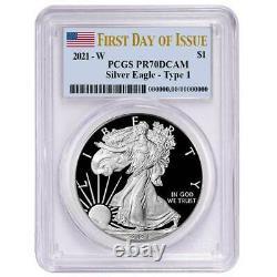 Presale 2021-W Proof $1 American Silver Eagle PCGS PR70DCAM FDOI Flag Label