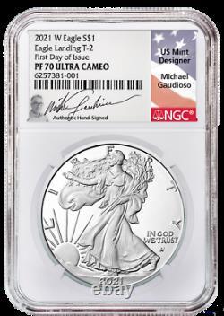 Presale 2021-W Proof $1 Type 2 American Silver Eagle NGC PF70UC FDI Gaudioso