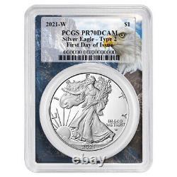 Presale 2021-W Proof $1 Type 2 American Silver Eagle PCGS FDOI PR70DCAM Eagle