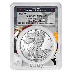Presale 2021-W Proof $1 Type 2 American Silver Eagle PCGS FDOI PR70DCAM West P