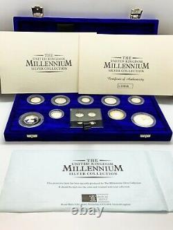 Royal Mint UK 2000 Millenium Silver Proof 13 Coin Set Including Maundy Set Of 4