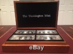 THE WASHINGTON MINT 1997.999 PURE SILVER 4OZ (8 BAR'S) PROOF COLLECTION withCOAs