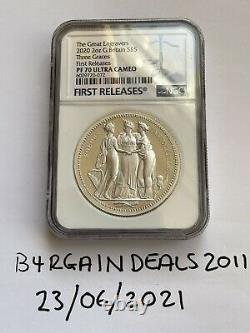 Three Graces 2020 2oz Silver Proof Coin- RM Great Engravers PF70 No Toning