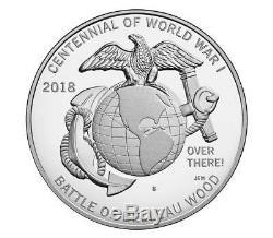 World War I Centennial 2018 Silver Dollar and Marine Corps Medal Set