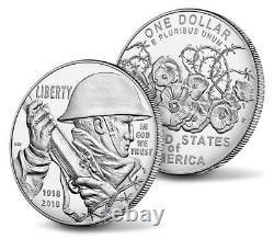 World War I Centennial 2018 Silver Dollar and Navy Medal Set